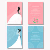 Set with bride silhouette for use in design for wedding card, poster, banner Stock Images
