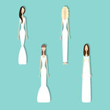 Set of brides. Brides in different styles of wedding dresses. Vector illustration in flat style. Set of young girls in white. Perfect bridal gowns guide Stock Photography