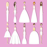 Set of brides. Brides in different styles of wedding dresses. Vector illustration in flat style. Set of young girls in white. Perfect bridal gowns guide. Variety Royalty Free Stock Image
