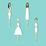 Set of brides. Brides in different styles of wedding dresses. Vector illustration in flat style. Set of young girls in white. Perfect bridal gowns guide Stock Image