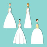 Set of brides. Brides in different styles of wedding dresses. Vector illustration in flat style. Set of young girls in white. Perfect bridal gowns guide Royalty Free Stock Images