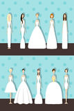 Set of brides. Brides in different styles of wedding dresses. Vector illustration in flat style. Set of young girls in white. Perfect bridal gowns guide. Variety Royalty Free Stock Images