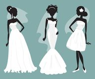 Set brides in various wedding dresses. Vector illustration Royalty Free Stock Photos