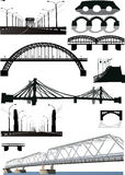 Set of bridge silhouettes Stock Image
