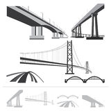Set of bridges, vector silhouette collection. Isolated on white background royalty free illustration