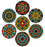 Set Of Brigh Circle Patterns. Set of isolated design elements with abstract pattern. Collection of symmetric ethnic ornaments. Decoration elements in traditional Royalty Free Stock Image