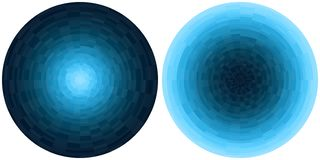 Set of 2 bright abstract blue and cyan radial gradient circles isolated on white background. Texture with circular pixel blocks. V vector illustration