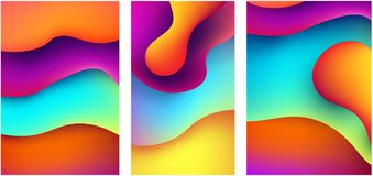 Set of abstract colorful backgrounds. Set of bright abstract colorful backgrounds. Vector illustration Stock Photography