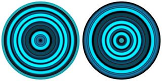 Set of 2 bright abstract colorful neon blue circles isolated on white background. Circular lines , radial striped texture. Round p stock illustration