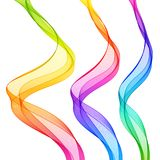 Set of Bright Abstract Isolated Transparent Wave Lines for White. Background. Smooth Wavy Vertical Colorful Curved Lines vector illustration