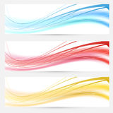 Set of bright abstract wave lines cards Royalty Free Stock Photography