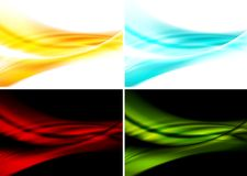 Set of bright abstract waves backgrounds vector illustration