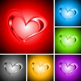 Set of bright backgrounds with hearts Royalty Free Stock Images