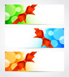 Set of bright banners with bow Stock Image