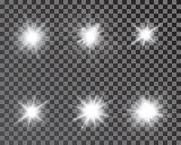 Set of bright beautiful stars. Optical lens glowing flashlight effect. Light effect, bright star, light flare. White sparkles shine light effect on transparent vector illustration