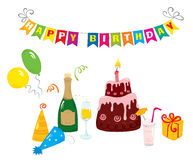 A set of bright birthday. Set of objects on the birthday stock illustration