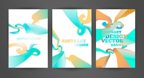 Set of bright blue brochures templates. Abstract illustrations and backgrounds. Business flyers and banners royalty free illustration