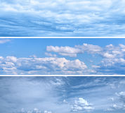 Set of Bright Blue Sky Backgrounds Stock Image
