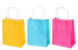 Set of bright blue, yellow, pink paper package Stock Photo