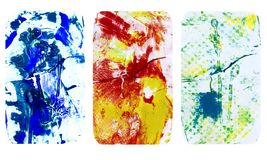 Set of bright blurred abstract textures. Colorful handmade backgrounds with flower imprints, stains, scuffed areas. Textured hand painted illustration royalty free illustration