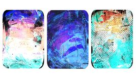 Set of bright blurred abstract textures. Colorful handmade backgrounds with flower imprints, stains, scuffed areas. Textured hand painted illustration vector illustration