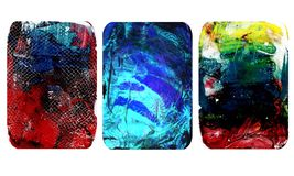 Set of bright blurred abstract textures. Colorful handmade backgrounds with flower imprints, stains, scuffed areas. Textured hand painted illustration stock illustration
