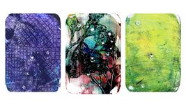 Set of bright blurred abstract textures. Colorful handmade backgrounds with imprints, stains, scuffed areas. Set of bright blurred abstract textures. Colorful vector illustration