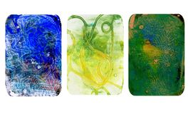 Set of bright blurred abstract textures. Colorful handmade backgrounds with imprints, stains, scuffed areas. Textured hand painted illustration royalty free illustration