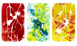 Set of bright blurred abstract textures. Colorful handmade backgrounds with imprints, stains, scuffed areas. Textured hand painted illustration vector illustration
