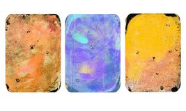 Set of bright blurred abstract textures. Colorful handmade backgrounds with imprints, stains, scuffed areas. Textured hand painted illustration stock illustration