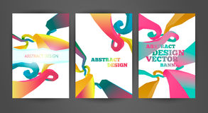 Set of bright brochures templates. Set of bright colored brochures templates. Abstract illustrations and backgrounds. Business flyers and banners stock illustration