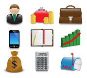Set of bright business and financial icons. On a white background Stock Image