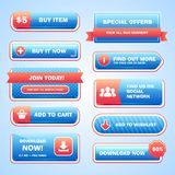 Set of bright buttons. For game or web design. Vector Royalty Free Stock Images