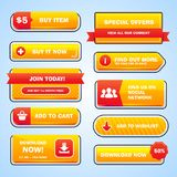 Set of bright buttons. For game or web design. Vector Stock Image