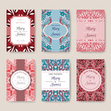 Set of bright card templates with ethnic patterns. Abstract vector background, oriental motifs. Grate for Save the Date, Saint Valentine Day, birthday cards Stock Image