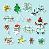 Set Of Bright Cartoon Christmas Stickers 2. Set Of Bright Cartoon Hand-drawn Christmas Stickers With Cute Сharacters And Phrases Royalty Free Stock Images