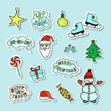 Set Of Bright Cartoon Christmas Stickers. Set Of Bright Cartoon Hand-drawn Christmas Stickers With Cute Сharacters And Phrases Stock Photos