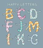 Set of bright cartoon letters with hands on a dark background for your design. Illustration Royalty Free Stock Photography
