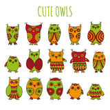Set of bright cartoon owls and owlets Stock Photo
