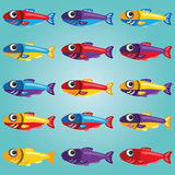 Set of Bright Cartoon Style Fishes Royalty Free Stock Image