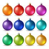 Set of bright Christmas balls Royalty Free Stock Photos