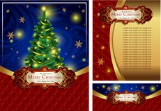 Set of a bright Christmas greeting cards Royalty Free Stock Images