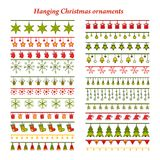 Set of bright Christmas borders with ornaments. Set of bright Christmas ribbons and borders with ornaments. Holiday Greeting Cards Design Stock Photo