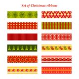 Set of bright Christmas ribbons with ornaments. Holiday Greeting Cards Design Stock Photo