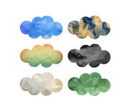 Set of bright clouds in triangular style Stock Photos
