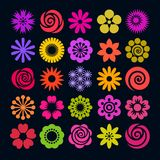 Set of bright color flower icons in flat style. Vector. Big set of bright color summer flower icons in flat style isolated on dark background. Vector Royalty Free Stock Photos
