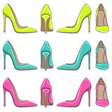 Set of bright color illuminations of female classical shoes with high heels. Stock Image