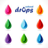 Set of bright colored drops. Royalty Free Stock Images
