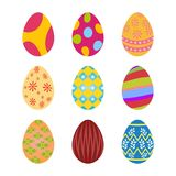 Set of colorful easter eggs with floral polka dots design. Set of bright colored easter eggs each having floral polka dots designs and textures Royalty Free Stock Image