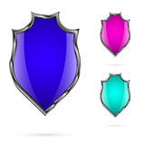 Set of bright colored shields for your design which is placed on a white background Royalty Free Stock Image